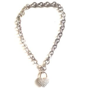 BEBE | Thick silver heart necklace